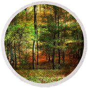 Autumn Sunset - In The Woods Round Beach Towel by Judy Palkimas