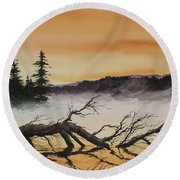 Round Beach Towel featuring the painting Autumn Sunset Mist by James Williamson