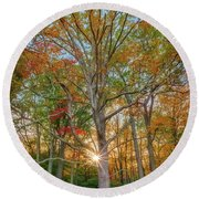 Round Beach Towel featuring the photograph Autumn Sunset Through The Trees by Rick Berk