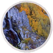 Autumn Surrounds Mist Falls In The Eastern Sierras Round Beach Towel