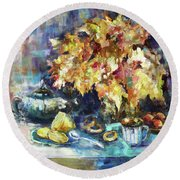 Autumn Tea Round Beach Towel