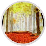 Round Beach Towel featuring the painting Autumn Trail by Yoshiko Mishina