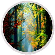 Autumn Trails In Georgia Round Beach Towel