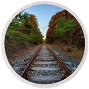 Autumn Train Round Beach Towel