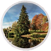 Autumn Tree Reflection Round Beach Towel