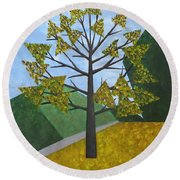 Autumn Tree Round Beach Towel by Tamara Savchenko