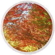 Autumn Trees Digital Watercolor Round Beach Towel