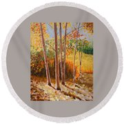 Autumn Trees Round Beach Towel