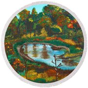 Autumn Trees In Virginia Round Beach Towel