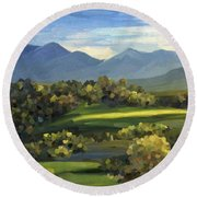 Round Beach Towel featuring the painting Autumn Trees by Ivana Westin