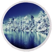 Autumn Turned Winter Round Beach Towel