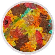 Autumn Leaves Underfoot Round Beach Towel