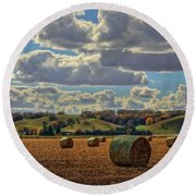 Autumn Valley Bales Round Beach Towel by Bruce Morrison