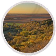 Autumn View At Waubonsie State Park Round Beach Towel