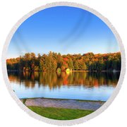 Autumn View For Two Round Beach Towel