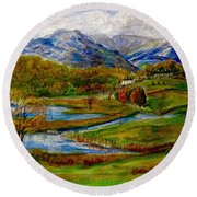 Autumn View Of The Trossachs Round Beach Towel
