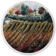 Autumn Vines Round Beach Towel by Roxy Rich