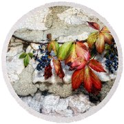 Autumn Vines Round Beach Towel