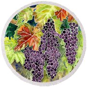 Autumn Vineyard In Its Glory - Batik Style Round Beach Towel by Audrey Jeanne Roberts