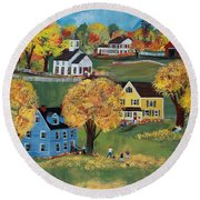 Round Beach Towel featuring the painting Autumn by Virginia Coyle