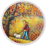 Round Beach Towel featuring the painting Autumn Walk  by Natalie Holland