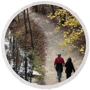 Autumn Walk On The C And O Canal Towpath With Oil Painting Effect Round Beach Towel
