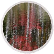 Round Beach Towel featuring the photograph Autumn Water Color by Susan Capuano