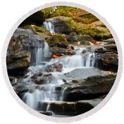 Autumn Waterfall Round Beach Towel by Shelby  Young