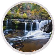 Round Beach Towel featuring the photograph Autumn Waterfall by Steve Stuller