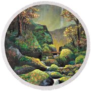 Round Beach Towel featuring the painting Autumn Waterfalls by Lou Ann Bagnall