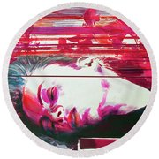 Round Beach Towel featuring the painting Autumn's Waiting  by Rene Capone