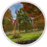 Round Beach Towel featuring the photograph Autumn Windmill Square by Bill Wakeley