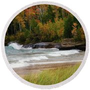 Autumn Winds And Color Round Beach Towel by Rachel Cohen