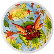 Autumn Winds Fairy Cat Round Beach Towel