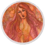 Autumn With Gold Flower Round Beach Towel by Rita Fetisov