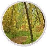 Autumn Woodlands Round Beach Towel