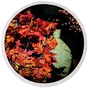Thanksgiving Wreath Round Beach Towel