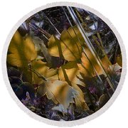 Round Beach Towel featuring the digital art Autumn Yellow by Stuart Turnbull