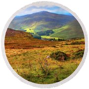 Round Beach Towel featuring the photograph Autumnal Hills. Wicklow. Ireland by Jenny Rainbow
