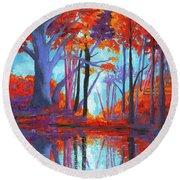 Autumnal Landscape, Impressionistic Art Round Beach Towel