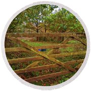 Round Beach Towel featuring the photograph Autumnal Orchard by Anne Kotan
