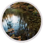 Autumnal Pond  Round Beach Towel by Yuri Santin