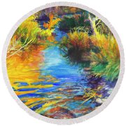 Autumnal Reflections Round Beach Towel