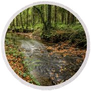 Autumnal Stream Round Beach Towel