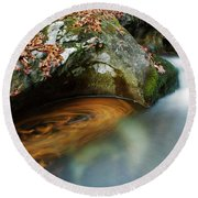 Round Beach Towel featuring the photograph Autumnal Stream by Yuri Santin