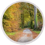 Autumnal Walkway Round Beach Towel