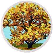 Autumnal Yellow Treet Round Beach Towel