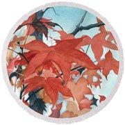 Round Beach Towel featuring the painting Autumn's Artistry by Barbara Jewell