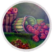 Round Beach Towel featuring the painting Autumn's Bounty In Tennessee by Kimberlee Baxter