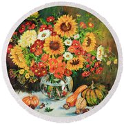 Autumn's Bounty Round Beach Towel